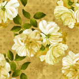 Roses flower watercolor seamless pattern in gold. Roses flower watercolor seamless gold pattern Royalty Free Stock Photography