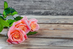Roses flower on wooden Royalty Free Stock Photography