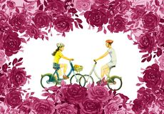 Roses flower with young man, woman,ride bicycle. Abstract watercolor painting red,pink flower color of roses with young man, woman,ride bicycle, classic vintage Stock Photo