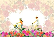 Roses flower with young man, woman,ride bicycle. Watercolor painting red,pink flower color of roses with young man, woman,ride bicycle, vintage style, Valentine Royalty Free Stock Images