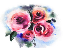 Roses flowers. On blue, watercolor painting Royalty Free Stock Images