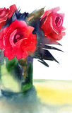 Roses flowers. Red Roses flowers, watercolor illustration Stock Image