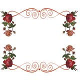 Roses flowers frame background Stock Photography