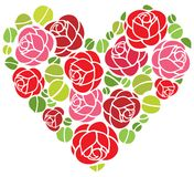 Roses flowers in heart shape. Roses flowers ornament in heart shape Royalty Free Stock Photos