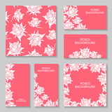 Roses flowers pink background set Stock Photography