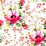 Roses flowers, seamless wallpapers. Summer illustration of Roses flowers, seamless wallpapers Stock Photo