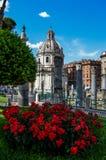 Roses by Forum Romanum. Forum Romanum, Rome, Italy 2015 Stock Photo