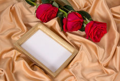 Roses and frame on cloth Royalty Free Stock Image