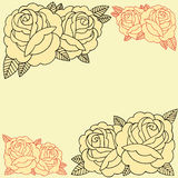 Roses frame. Line work in old school Tattoo style set 07 stock illustration
