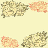 Roses frame. Line work in old school Tattoo style set 08 stock illustration