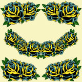 Roses frame. In old school Tattoo style set 09 stock illustration