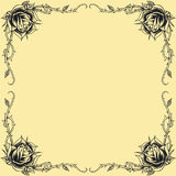 Roses frame oldskool Tattoo style design set 01 Royalty Free Stock Photos