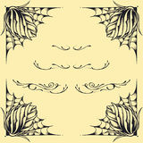 Roses frame oldskool Tattoo style design set 02 Royalty Free Stock Image