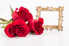 Roses and frame. Red roses and frame on white Royalty Free Stock Photos