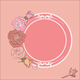 Roses frame with round field for the text Stock Photos