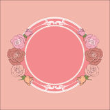 Roses frame with round field for the text Royalty Free Stock Photos