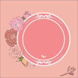 Roses frame with round field for the text Royalty Free Stock Photography