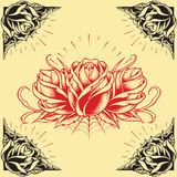 Roses and Frame Tattoo style design set 01. Roses and Frame Oldskool Tattoo style design set 01 Elements vector for Use royalty free illustration