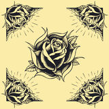 Roses and Frame Tattoo style design set 02 Royalty Free Stock Image
