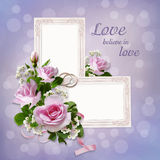 Roses, frames, wedding rings on a gentle beautiful background Royalty Free Stock Image