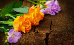 Roses and freesias on wood Royalty Free Stock Photos