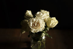 Roses in full bloom. Cream roses in mason jar on wood planked floor Stock Photography