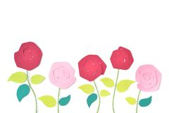 Roses in garden paper cut on white background royalty free stock photos
