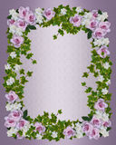 Roses and gardenias floral border template Stock Photos