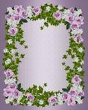 Roses and gardenias floral border template stock photos