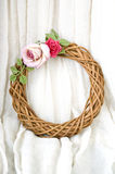 Roses garland. Romantic roses garland on white background Stock Image