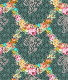 Roses Garland Lace Seamless Pattern illustration stock