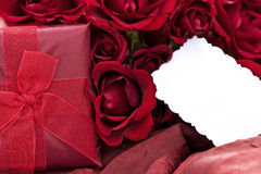 Roses and Gift Royalty Free Stock Image