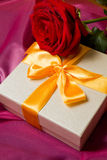 Roses and gift box Stock Photo