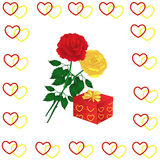 Roses and gift box Stock Photography