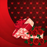 Roses and gift box lovely background Royalty Free Stock Photography