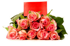Roses with gift card Royalty Free Stock Photography