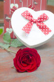Roses and gifts on the occasion of Valentine's Day. Stock Photo