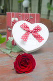 Roses and gifts on the occasion of Valentine's Day. Royalty Free Stock Images