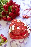 Roses and gifts in Valentine day Royalty Free Stock Photo
