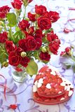 Roses and gifts in Valentine day Royalty Free Stock Photography