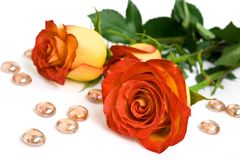 Roses and glass stones. Yellow roses and decorative glass stones Stock Images