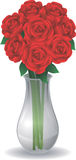 Roses in Glass Vase Royalty Free Stock Images