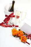 Roses and glasses of champagne Royalty Free Stock Images