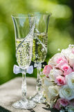 Roses and glasses of champagne Stock Photography