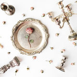 Roses with gold tray royalty free stock images