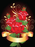 Roses and golden ribbon Stock Image
