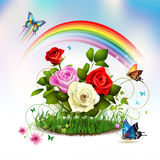 Roses on grass. With butterflies Royalty Free Stock Photos