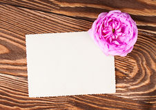 Roses with greeting card on the boards Royalty Free Stock Photo