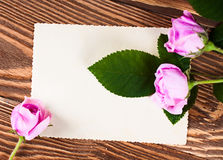 Roses with greeting card on the boards Royalty Free Stock Photography
