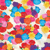 Roses group colorful bright seamless pattern Stock Photo